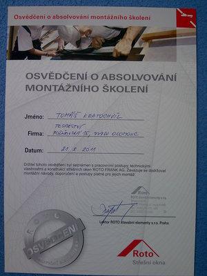 Osvědčení o absolvování montážního školení střechy Olomouc